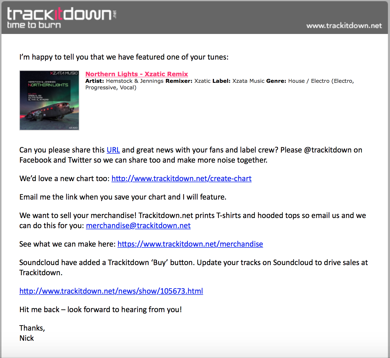 Northern Lights Xzatic Remix Featured at Trackitdown!