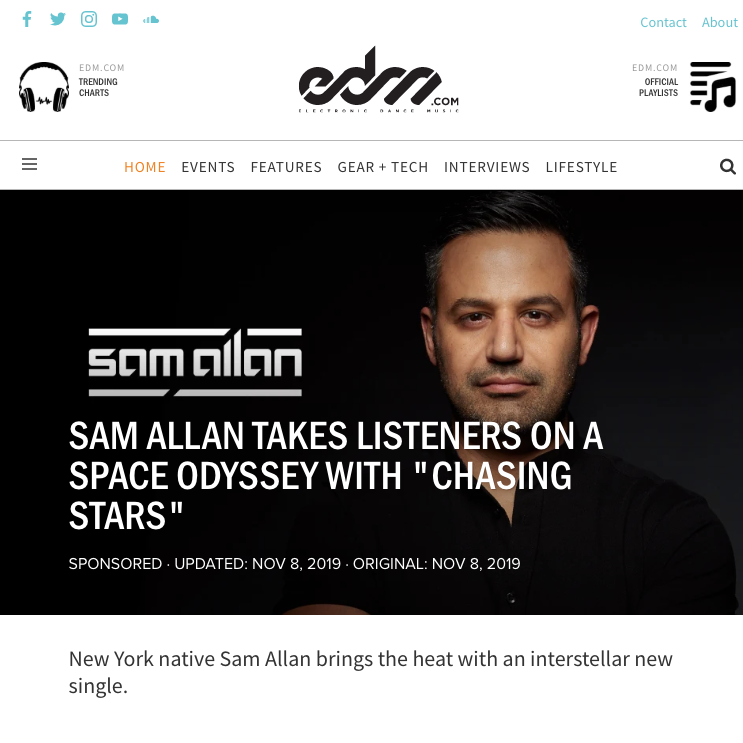 Sam Allan Featured at EDM.COM
